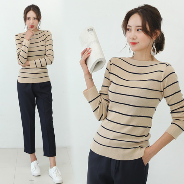 Ending Lips Boat Neck Knit Boat Striped Knit Top