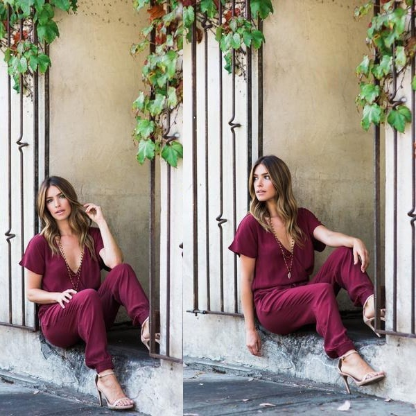 3色女性のファッション春夏カジュアルセクシーな深いVネック巾着シフォンジャンプスーツラ