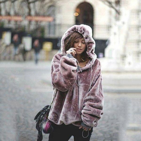 新しい到着ホットセールファッションレディースパープル暖かいフリースアウターウェアファッションレディプルオーバーホー