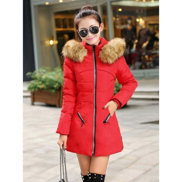 新しい女性の冬の厚いキープウォームダウンジッパージャケットロングコットンパディングアウトウェア
