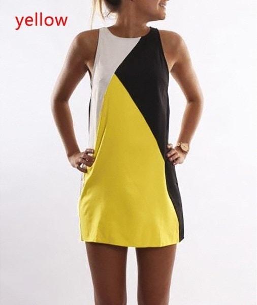 2017春夏ファッションカジュアルノースリーブミニワンピースプラスサイズの色の組み合わせスカート