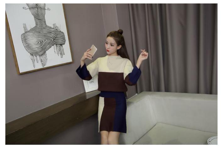 【即日発送】セットアップ/トップス/台形スカート/ニット/膝丈/新作/3カラー/フリーサイズ/ふわふわり