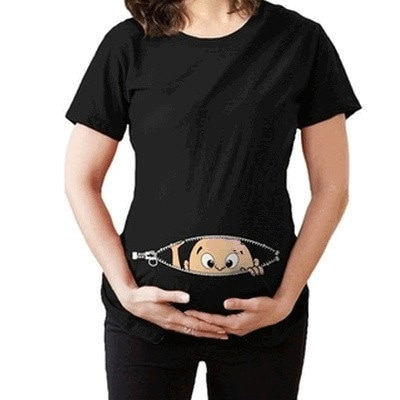 女性の赤ちゃんは、赤ちゃんの女の子を出産プリントTシャツはおかしい妊娠中のTシャツプラスサイズ