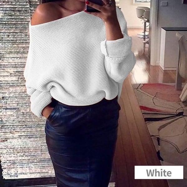 女性のセクシーなストラップレスソリッドカラーロングスリーブセーター