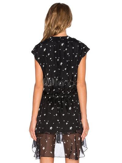 Print Short Dress Black Deep-V Semi-Sheer Summer Dress