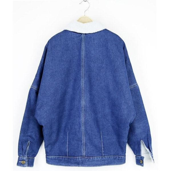 ジャケット アウター Gジャン デニム 長袖ジャケット デニムブルゾン ミディアム 裏ボア 暖か ポケット付 モコモコ 濃い ブルー お出かけ オシャレ 防寒