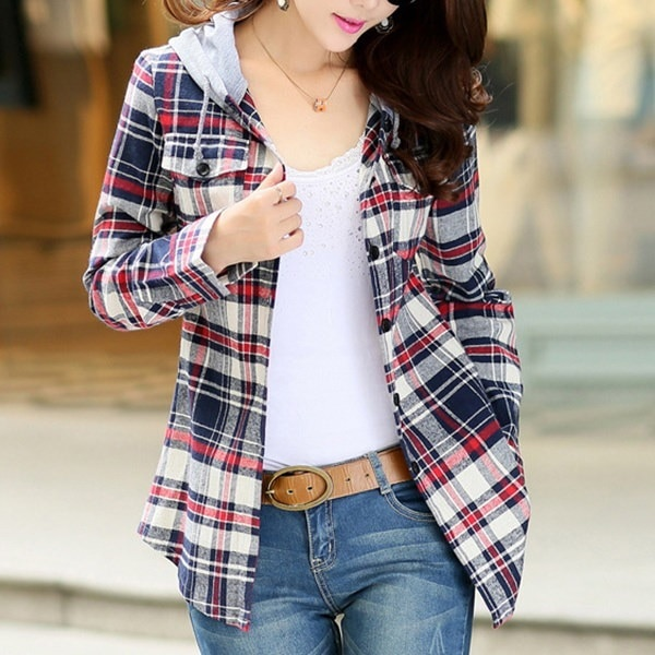 新しい長袖フード付きプルオーバーシャツコットンチェックプリントスリムフィット女性のファッションブラウスwdbfiC-