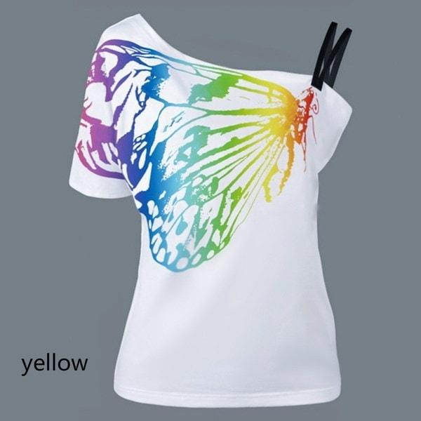 女性のセクシーなストラップレススキューカラーバタフライウィングプリント夏の半袖オーバーサイズTシャツトップス