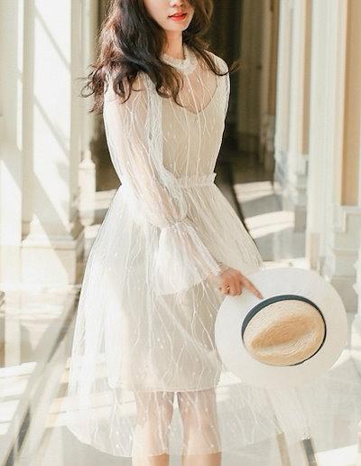 透け感で大人キュートなフェアリーワンピースドレス 結婚式 婚活 二次会 お呼ばれ パーティー ドレス 2018