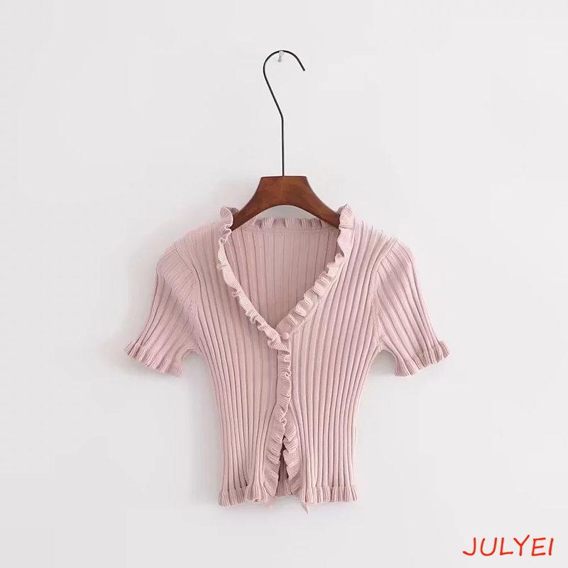欧米風 全6COLOR ニット半袖Tシャツ ゆったり 着やせ 2018春 スレッドニット レディース  無地  トップス シャツ お洒落