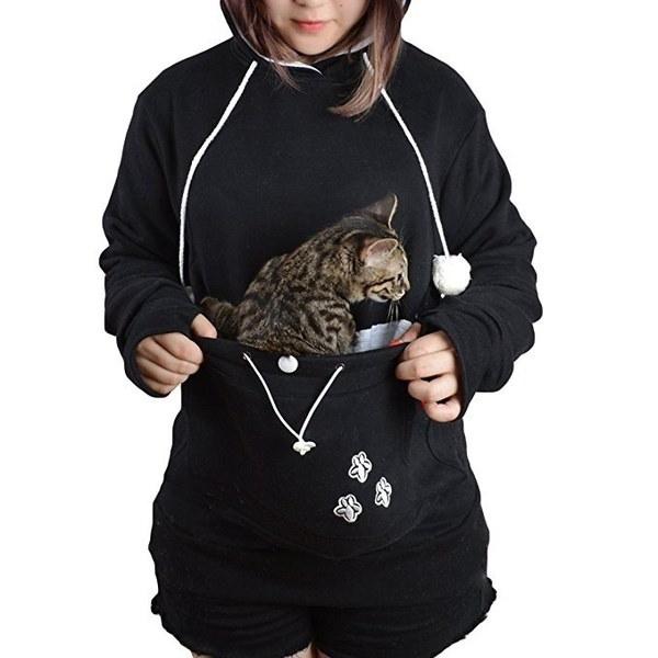 女性のファッションロングスリーブフード付きかわいいポーチキャリアプルオーバーパーカWZG3226