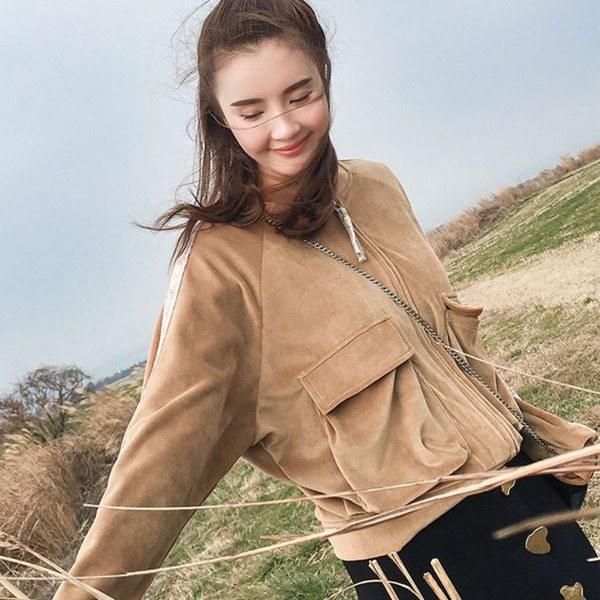 【送料無料】レディース ジャケット ブルゾン ベロア 薄手 ライン入り 無地 ライト ファッション
