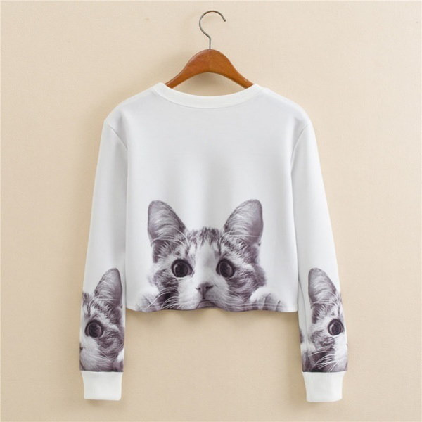 Maggie Shop New Fashion Style Women Lovely Cat Print Hoodies Sweatshirt Lady Casual Crop Tops Blouse