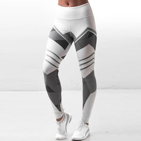 新しい女性のFashionbジオメトリック印刷パンツカジュアルハイウエストヨガパツツフィットネススポーツウエアレギン