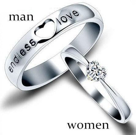 1本925スターリングシルバージュエリー愛好家カップルリング(女性と男性)女性と男性の結婚式婚約パーティーg