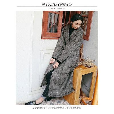 レディースグレンチェックロングコートジャケット羽織りコートアウター長袖トレンチコートベルト付きマキシ丈ダブルボタン