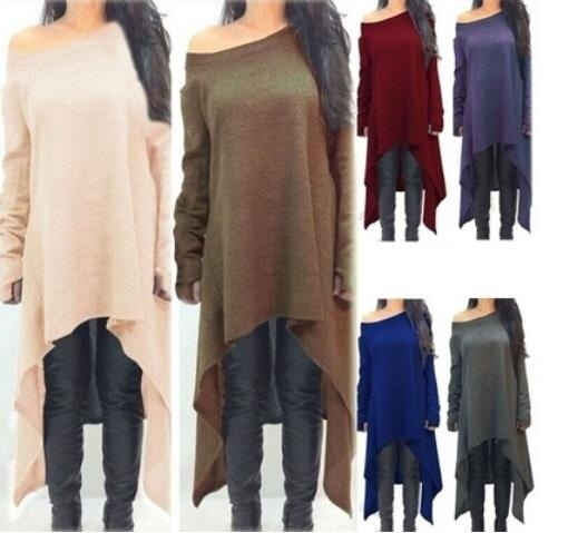 FOREVER斜め長袖コットンTシャツカラー不規則な裾スカートファッションルーズ大きなサイズのおしゃれ