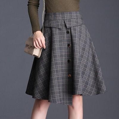 スカート フレアスカート Aライン イレギュラー裾 前ボタン チェック柄 グレンチェック ボトム トレンド ガーリー 上品 A00384