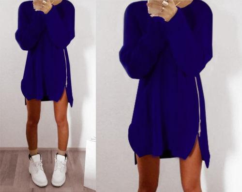 ヨーロッパと米国の秋と冬の新しいカジュアルルーズジッパー女性のセーター不規則なロングセータードレス