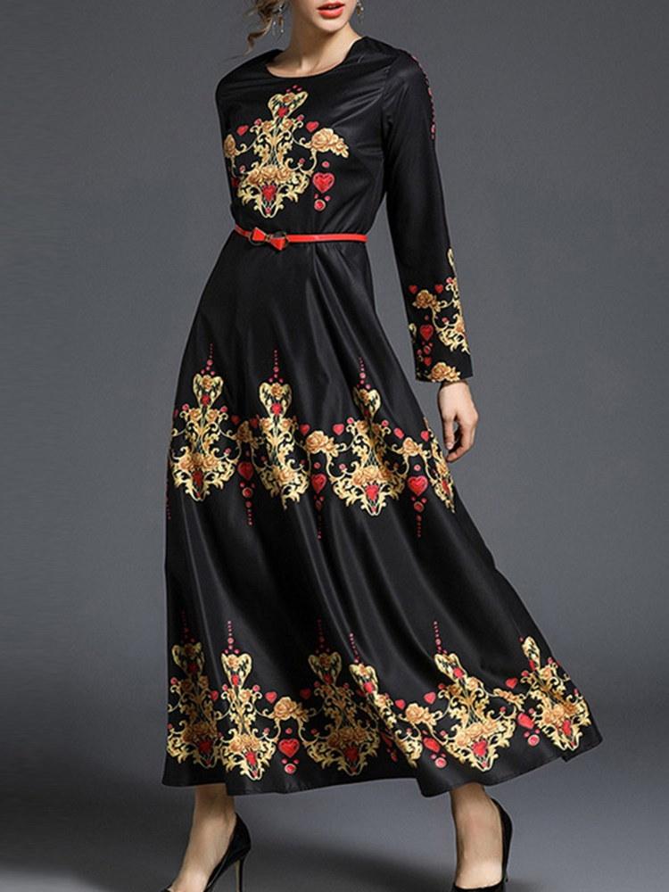 エレガントな女性フローラルプリント長袖O-ネックマキシは、ベルトとドレスをスイング