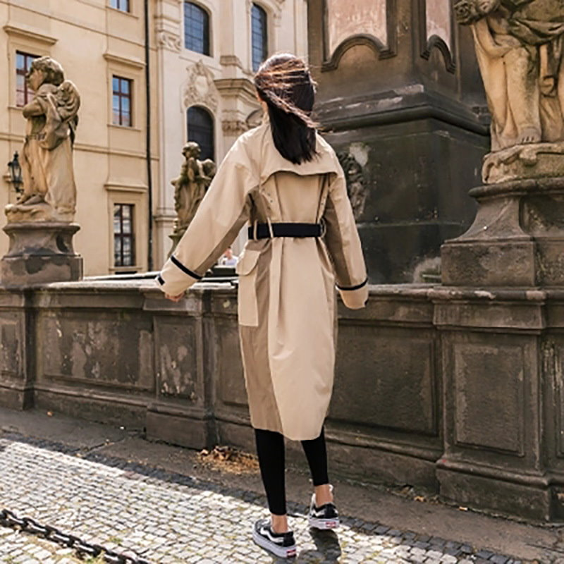 2017秋トレンチコート レディース  ベルト付き ロングコート  レディース アウター  エレガント女性用着回し 気品 韓国ファッション