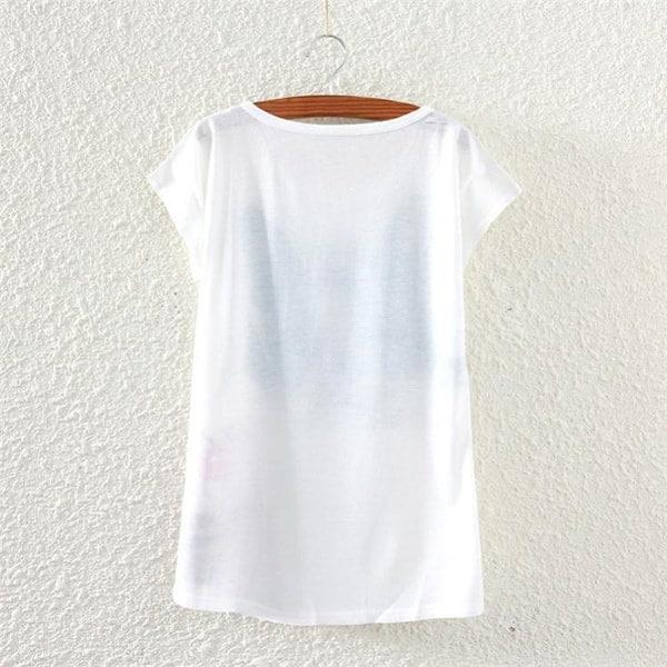 ヴィンテージニューファッション女性半袖犬のグラフィックプリントTシャツMedMall(カラー:ホワイト)