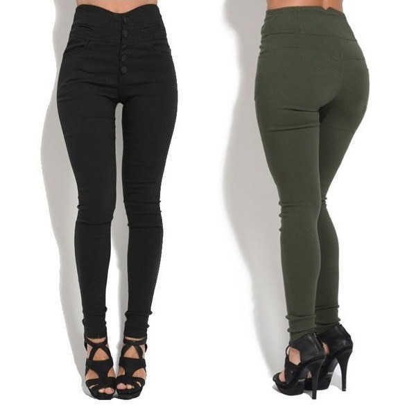 Sexy Women Fashion Super Elastic Pencil Pants Retro Fashion High-waist Slim Straight Trouses Plus Si