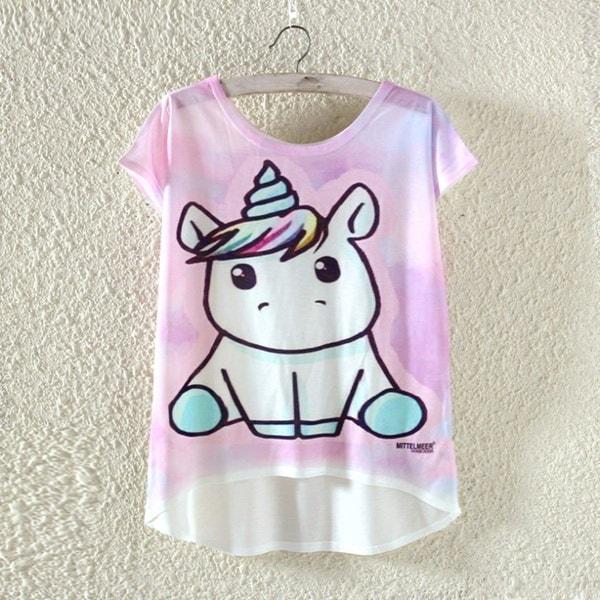 ビル・ショップヨーロッパスタイルの女性の夏の漫画ユニコーンプリントトップス半袖プルオーバーTシャツ