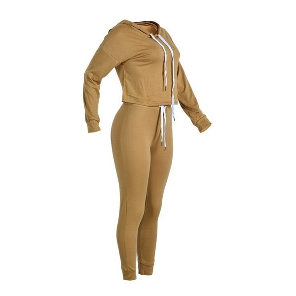 ホットセール女性ファッションフード付きレースアップロングスリーブブラウスロングパンツツーピーススーツ