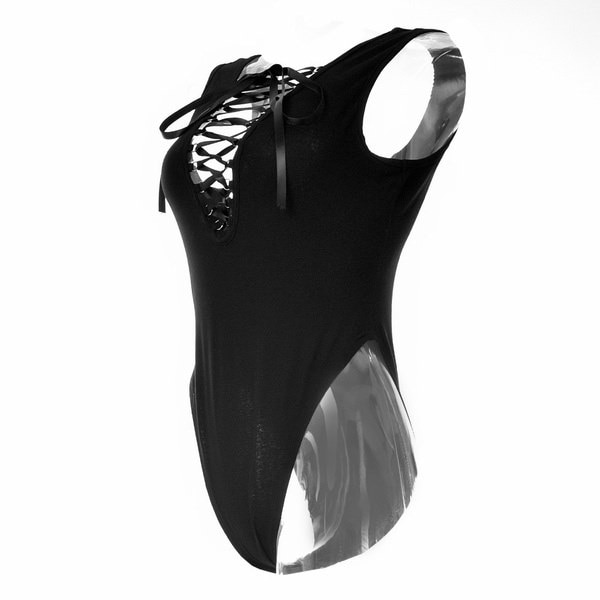 2015新しいセクシーなレースアップボディースーツサマーディープVネックブラックノースリーブロンパーズ女性ジャンプスーツオーバーオールB