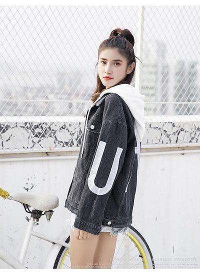 gsgsレディースファッション コート ジャケット ショート丈 デニム素材 オーバー 女の子の格好いいスタイル 個性 ストリート風 アメカジ 帽子