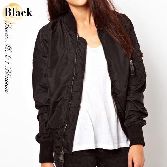 MA-1 ブルゾン アウター レディース ベーシック ジャケット カーキ ブラック ジャンパー 大人可愛い 韓国 ファッション