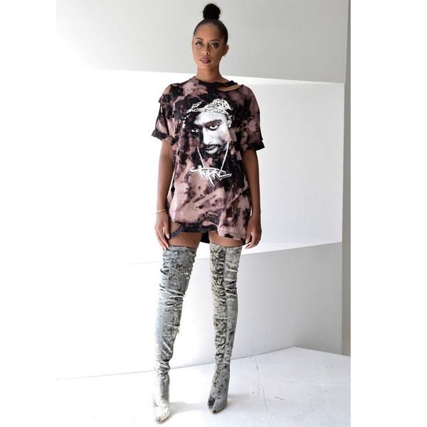 女性のロックスタイルトップ不規則な壊れた穴のTシャツミドルワンピースワンピース
