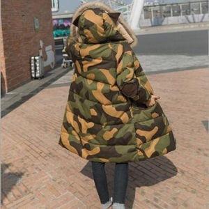 ダウン風コート 中綿コート レディース ロング丈 迷彩柄  ダウン風ジャケット パーカ ファー フード付き ゆったり コート アウター 暖かい 秋冬 新作