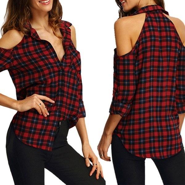ホットファッションレディースカジュアルチェック柄ラペルシャツトップセクシーなオフショルダーロングスリーブブラウス