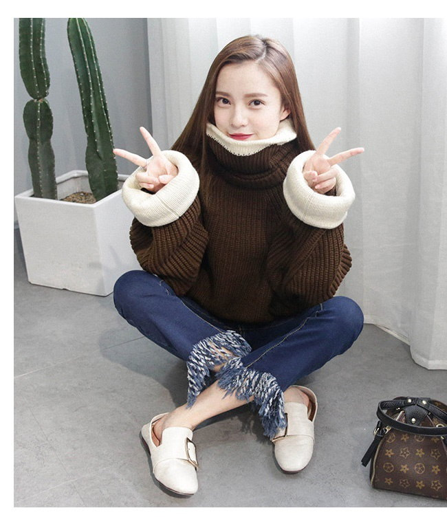 レディースファッション 女性 トップス セーター スタンドカラー ニット プルオーバー 大きいサイズ 配色 パフ袖 オーバーサイズ ストリート風 個性 お洒落 韓国風 折返し襟