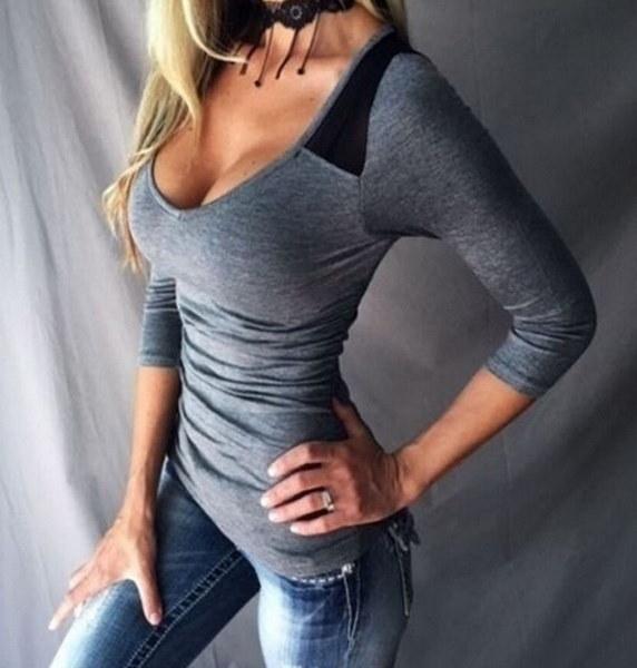 ファッション女性の深いVネックTシャツ長袖カラーステッチトップ