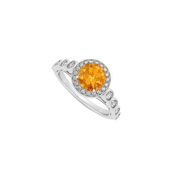 925シルバーのキュービックジルコニアハロー婚約指輪と明るい黄金の11月の誕生石