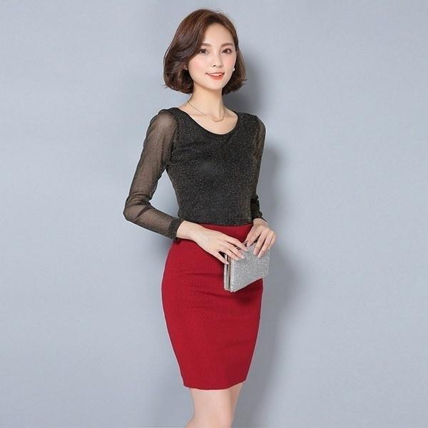 韓国の新しいスタイルのセクシーなTシャツパーティーファッション新しいワイルドシャイニーゴールドとシルバーメッシュ糸ラウンドネックシャツ