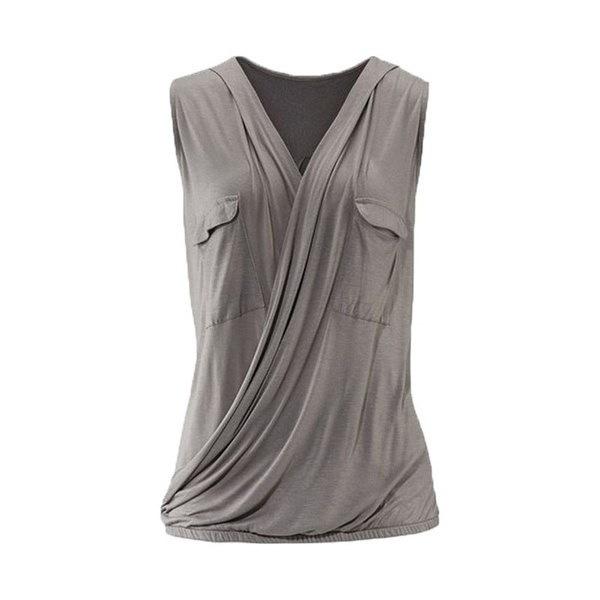 2017女性のセクシーなポケットVネックノースリーブシャツレディースファッションソリッドカラータンクトップ