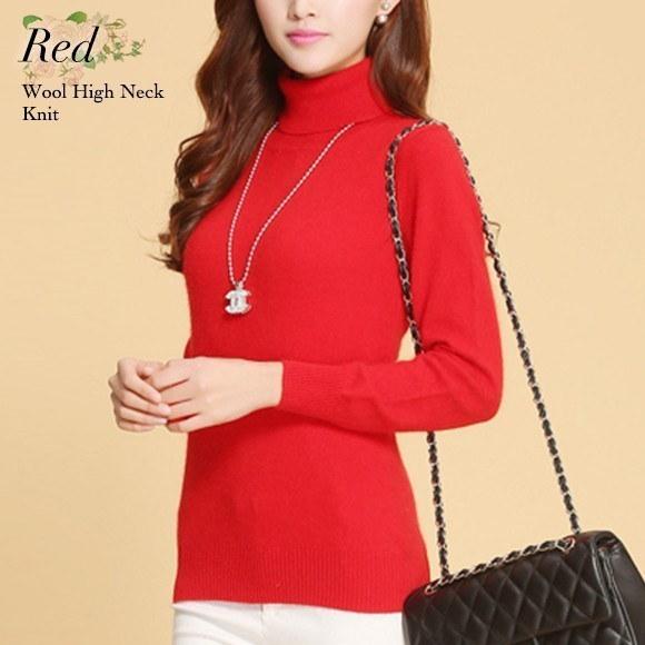 ハイネック ニット トップス レディース ウール シンプル 無地 インナー カットソー 10色 セーター 韓国 ファッション