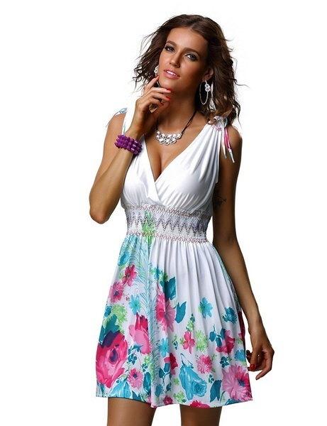 女性のファッションノースリーブVネックバックレスプリントセクシーなミニワンピースWZC7197