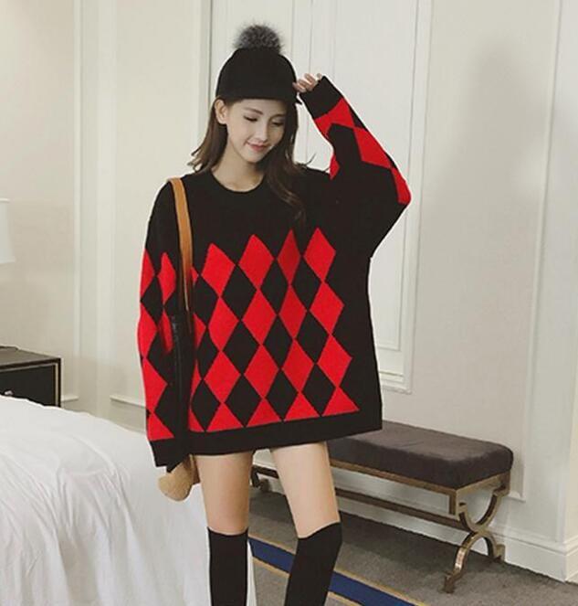 [55555SHOP]秋 秋冬 新作 ニット 長袖 バルーン袖 ゆったり 大きいサイズ 丸首 チュニック トップス レディース ニットセータ