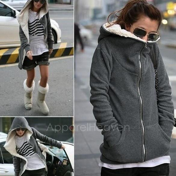 ファッションレディースジップトップスパーカーコートジャケットアウターウェアスウェットAP