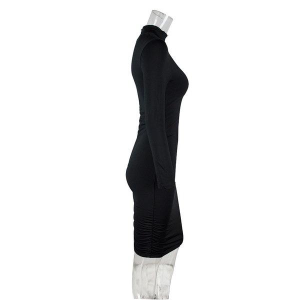 女性のボディコンミニドレスセクシーなタートルネックロングスリーブプリーツクラブドレスタイトなドレス女性Tシャツ