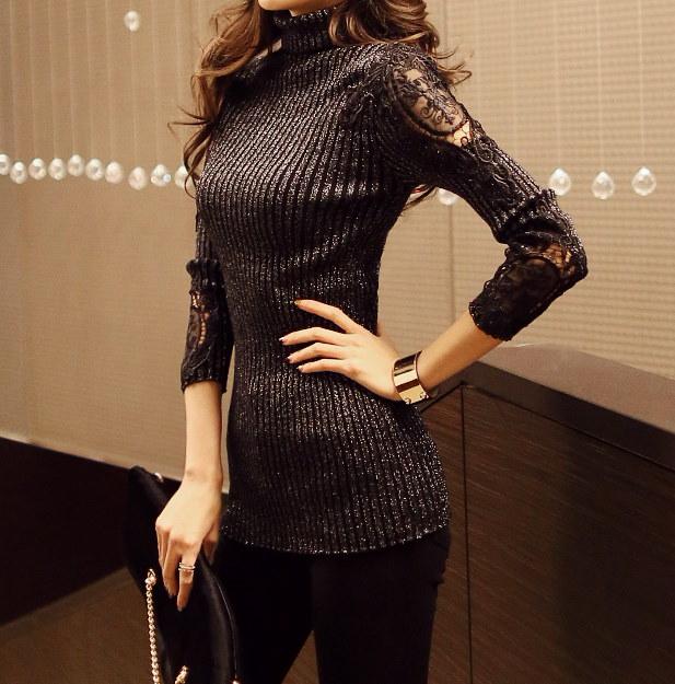 スリーブレースタートルネック- This is pretty knit having lace point emphasizing practicality and flexible proper