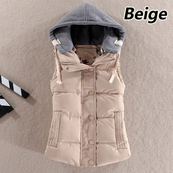 新しい女性のアウトソールノースリーブジャケット冬のフード付きコットンウォーム女性のベストプラスサイズのベスト