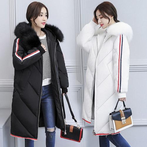 4 colorジャケット女性の新しい韓国の冬コート女の子ロング襟フード付きダウンジャケット厚いパッド入りコート