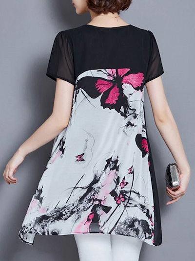ファッション着痩せエレガント半袖ラウンドネック蝶柄プリント切り替えしチュニック