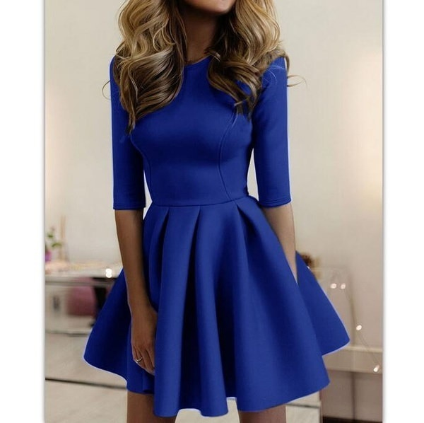 2017 new fashion women s tight-fitting short-sleeved summer dress waves